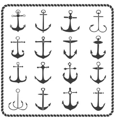Set of sixteen hand drawn anchors vector