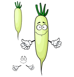 White radish or daikon vegetable cartoon character vector