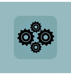 Pale blue cogs icon vector