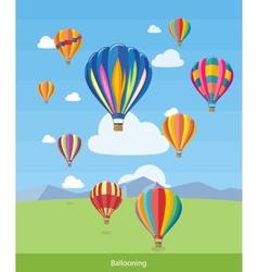 Hot air balloons flying vector