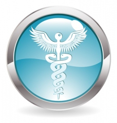 Gloss button with medical sign vector