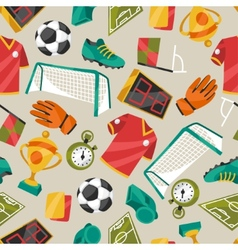 Sports seamless pattern with soccer football vector