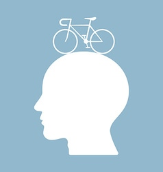 Bicycle brain think man head vector
