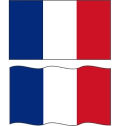 Flat and waving french flag vector
