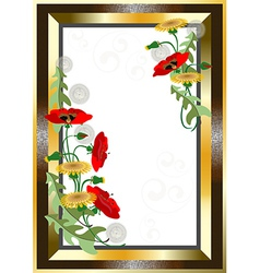 Classical gold plated frame with wildflowers vector