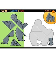 Cartoon gorilla puzzle game vector