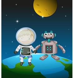 An astronaut beside a robot in the outer space vector