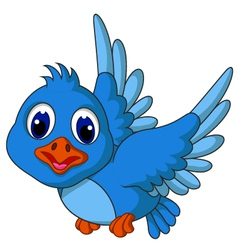 Funny blue bird cartoon posing vector