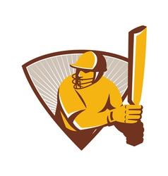 Cricket batsman batting shield retro vector