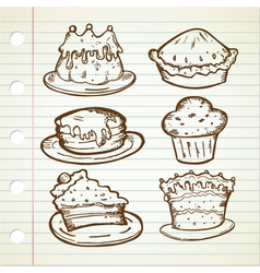 Cake doodle collections vector