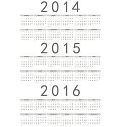 European 2014 2015 2016 calendars vector