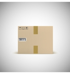 Sealed cardboard box with barcode tape and traffic vector