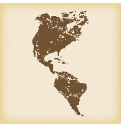 Grungy american continents icon vector