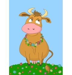 Beauty cow without gradients vector