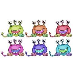 Six three-eyed aliens vector