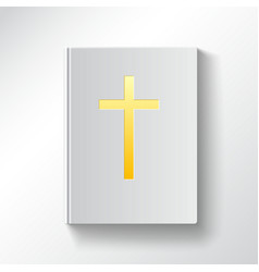 Book with a gold cross top view vector