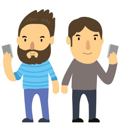 Man look phone vector
