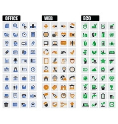 Office web and eco icons vector
