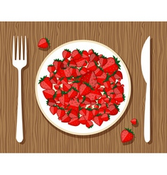 Strawberries on plate vector