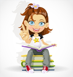 Schoolgirl read book and makes the sign of peace vector
