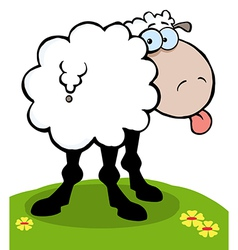Cartoon sheep sticking out his tongue vector