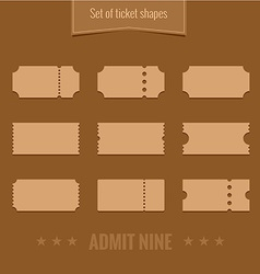 Set of ticket shape silhouettes template vector