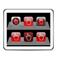 Pixel hand red app icons vector