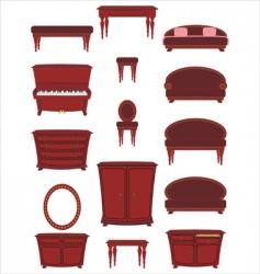 Set of cartoon furniture vector