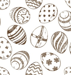 Seamless pattern of sketch easter eggs vector