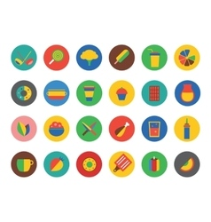 Kitchen food icons set fruit dinner or vector