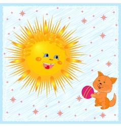 Sun and kitten vector