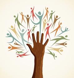Familiy human hand tree vector