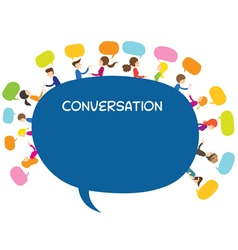 People conversation text balloon vector