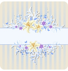 Decorative blue background with lily vector