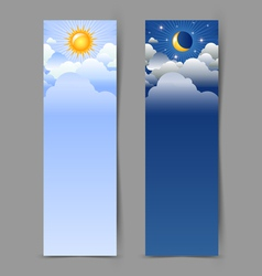 Day and night banners vector