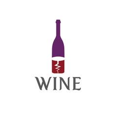 Wine bottle and corkscrew design template vector