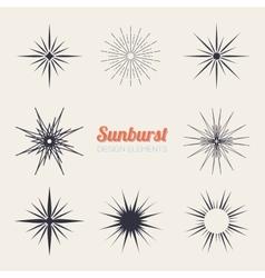 Vintage sunburst design elements collection with vector