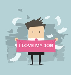 Businessman with i love my job vector