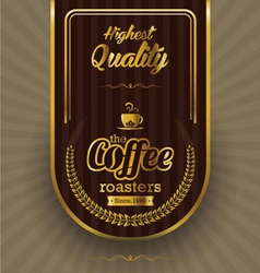 Brown background with coffee label vector