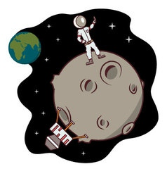 Isolated cartoon moon landing selfie time vector