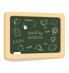 School icons on chalkboard vector