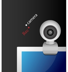 Web camera on monitor vector