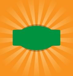 Radial stripes on orange with green frame vector