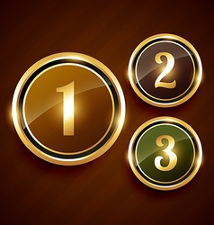 Golden number one two three premium design label vector
