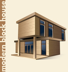 Modern block house in color vector