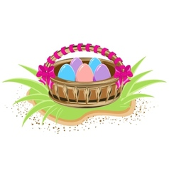 Basket with colored eggs is standing on green vector