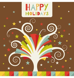 Colored holiday tree vector
