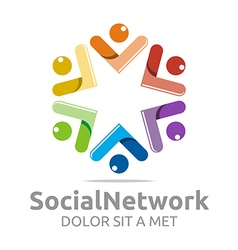 Logo social network people star colorful design vector
