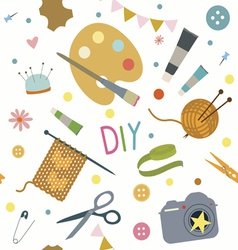 Seamless print with hobby tools vector