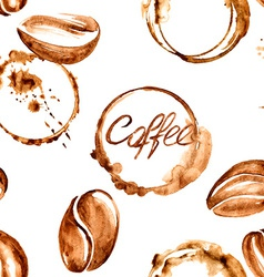 Coffee watercolor seamless pattern vector